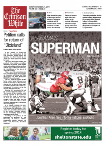 The Crimson White 11/21/2016 front page