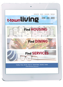 T-town Living site shown on a tablet.